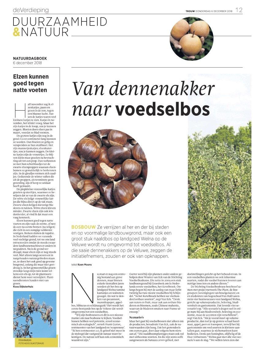 Artikel in trouw over voedselbosproject Welna
