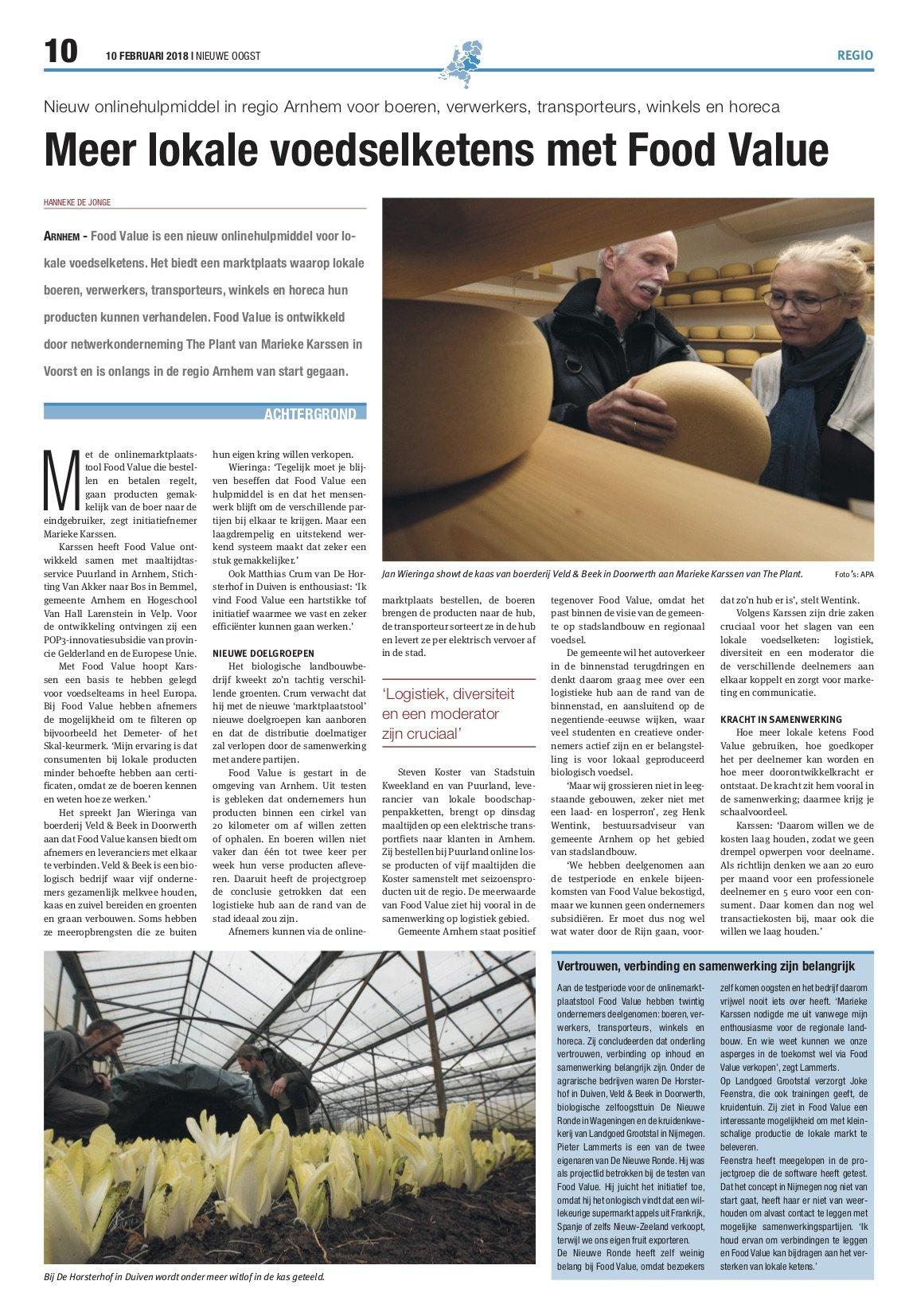 Artikel in nieuwe oogst over Food Value
